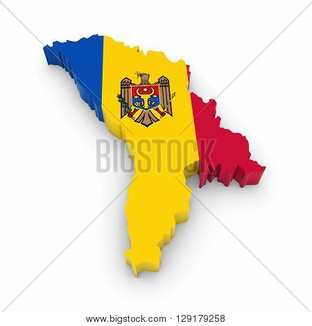 3D Illustration Map Outline Of Moldova With The Moldovan Flag