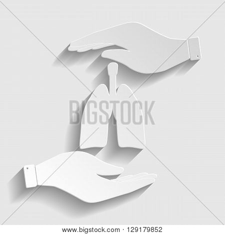 Human organs. Lungs sign. Save or protect symbol by hands. Paper style icon with shadow on gray.