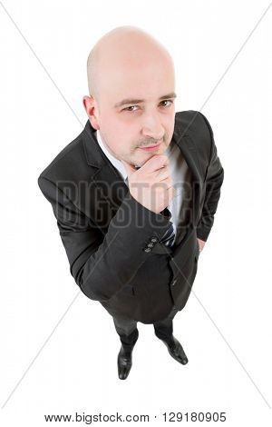 Businessman thinking full length isolated on white