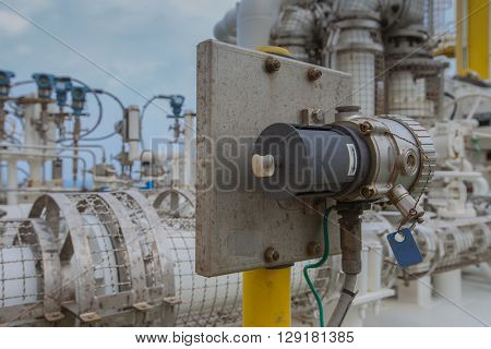 Gas detector install near gas compressor to detect any leaking of gas for safety