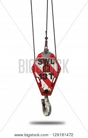 Crane hoist and hook with wire rope sling isolate on white back ground clipping path