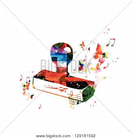Vector illustration of colorful stamper with butterflies