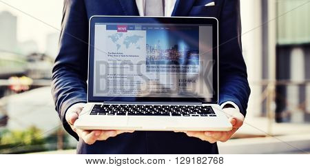 Business Man Holding Laptop News Concept