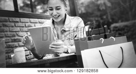 Woman Girl Coffee Shop Holidays Concept