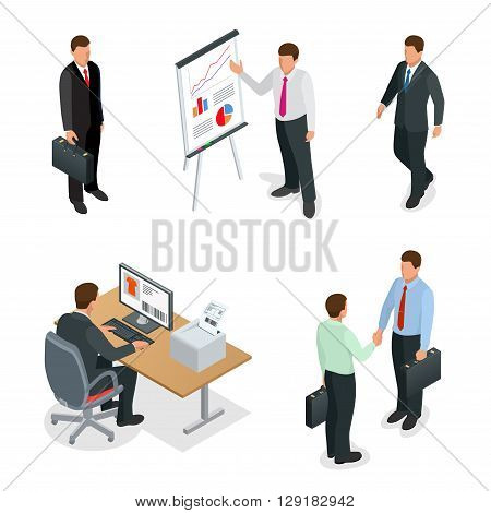 Business man isometric set. Businessman isolated flat 3d vector illustration