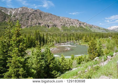 Valley of the Clarks Fork Yellowstone River. Northern part of Wyoming's Absaroka Range
