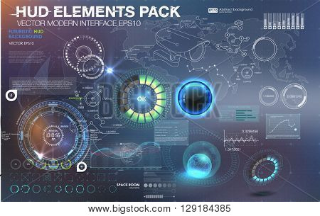 Fantastic abstract background with different elements of the HUD. Big set of various HUD elements. Charts, ratings style HUD switches and various geometrical objects.