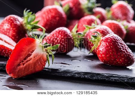 Strawberry. Fresh strawberry. Red strewberry. Strawberry Juice. Loosely laid strawberries in different positions