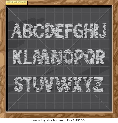 Hand drawn alphabet in white chalk style on a brown board with grid capital letters digital vector image