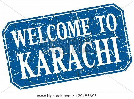 welcome to Karachi blue square grunge stamp