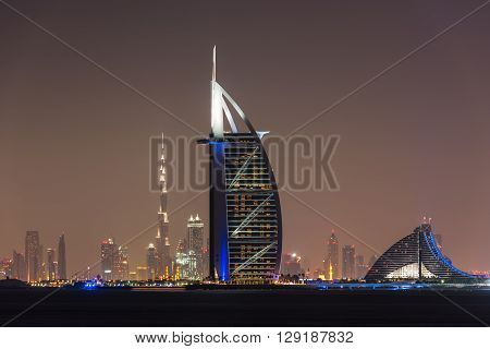 Burj Al Arab Jumeirah In Dubai City At Night