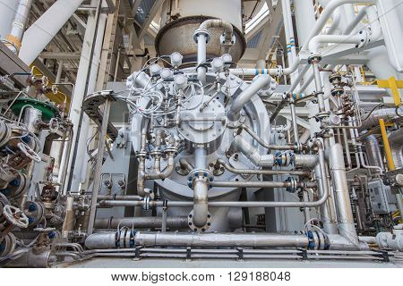 Gas compressor with piping and tubing accessories to compress gas and boost up pressure used in oil and gas and power generation industry