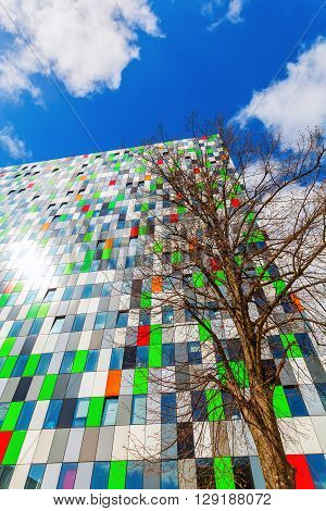 Utrecht Netherlands - April 20 2016: student accommodation building at the university campus. The campus The Uithof is well known for its extraordinary and experimental architecture