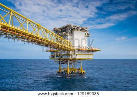 Accommodation in oil and gas platform they are a lot of people on boarded the accommodation platform connect to production platform with bridge.