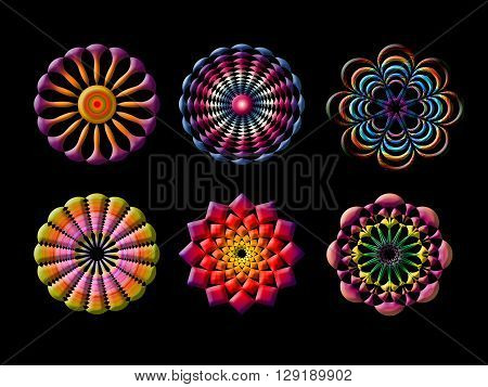 Abstract colorful geometric doily ornament isolated on black background