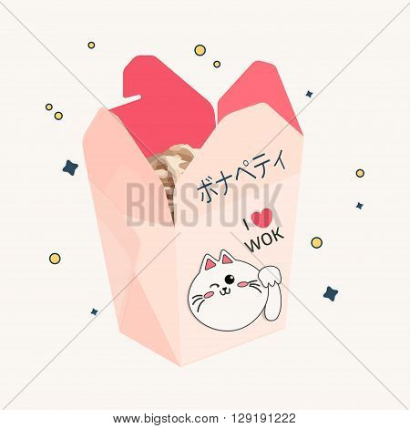 pink open box with chinese food, cute style. Asian restaurant illustration concept. Delivery business image.