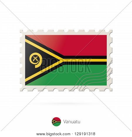 Postage Stamp With The Image Of Vanuatu Flag.