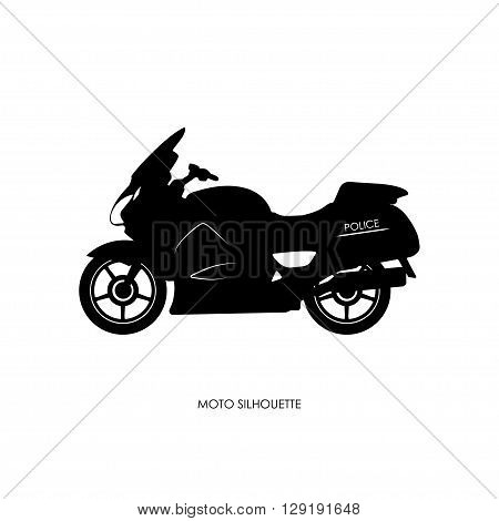 Black silhouette of a police motorcycle on a white background. Vector illustration