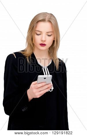 happy confident businesswoman planing something on the mobile cell phone isolated on white