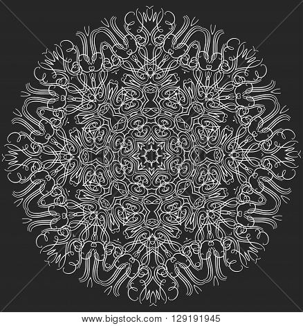 Mandala or snowflake for design, birthday mandala and other holiday mandala or snowflake, kaleidoscope mandala,  medallion mandala, yoga, india, arabic mandala. Geometric circle mandala