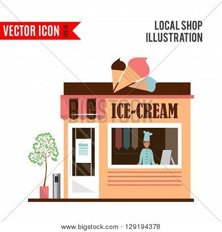 Ice-cream detailed flat restaurant icon isolated on white background. Vector illustration for shop design. Pale ice cream cafe building.Local street market. Modern front store. Cartoon facade