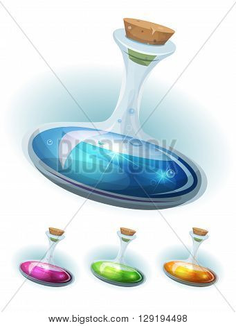 Illustration of a booster icon of magic potion elixir inside glass flask with colorful liquids for energy weapons and playing resources on game ui