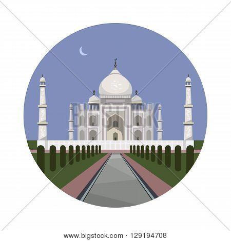 Taj Mahal icon isolated on white background. Vector illustration for famous india building design. Travel minaret islam postcard. Palace asia landmark symbol. Touristic architecture temple