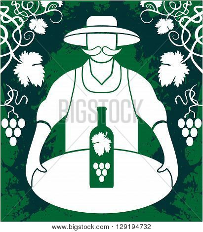 Winemaker with wine bottle grapes bunch isolated on greenbackground