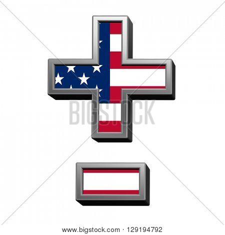 Hyphen, minus, plus marks from american flag alphabet set isolated over white. 3D illustration.
