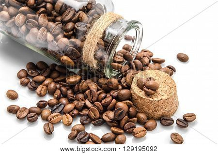 Isolated opened coffe jar on white background