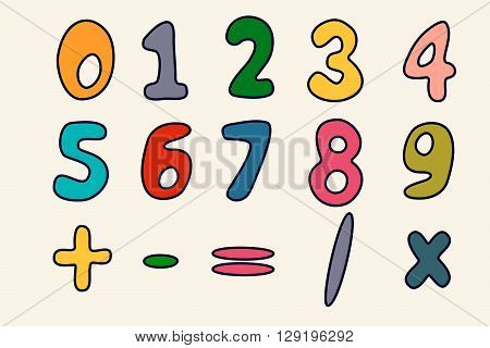 Numbers Particoloured Set In Hand Drawn Comic Style Isolated On White Background
