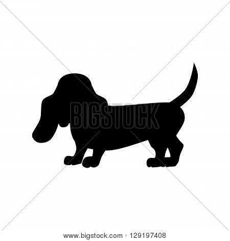 Flat basset hound pet illustration. Standing cute dog vector. Flat dog animal pet vector icon. Home cartoon basset hound  in flat style. Dog black silhouette isolated on white background