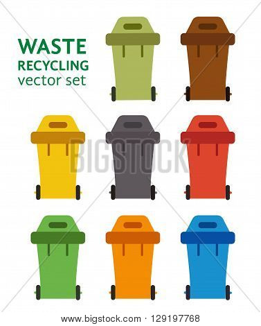 Waste sorting garbage bin set vector. Waste management and recycle concept with waste bin set. Separation of waste trash bin set. Sorting recycling waste cans. Colored garbage cans vector.