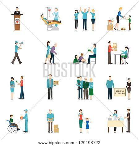 Charity Donation Icons Set. Charity Vector Illustration. Charity People Symbols. Charity Flat Elements. Charity People Design. Charity Isolated Collection.