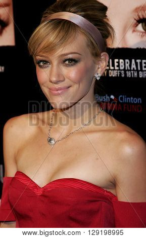 Hilary Duff at Hilary Duff's 18th Birthday Party at the Club Mood in Hollywood, USA on September 28, 2005.