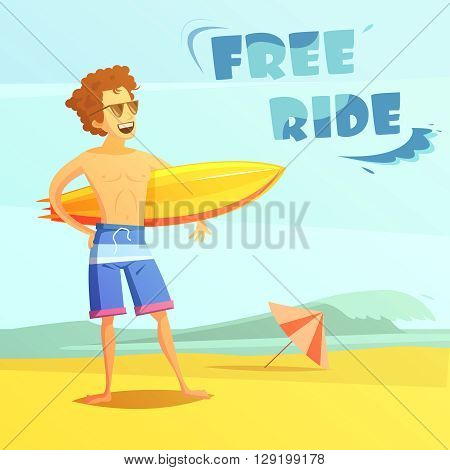 Surfing free ride with surfer holding surfboard on beach flat retro cartoon vector illustration