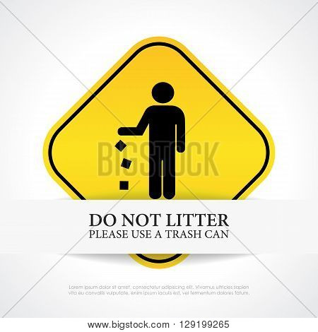 No littering sign isolated on white background
