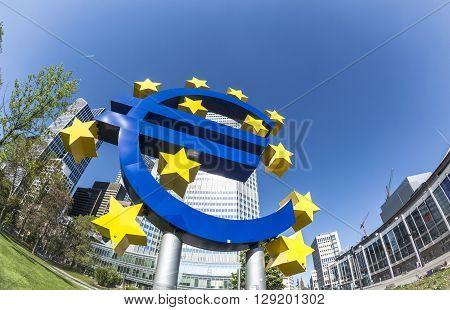 The Euro Sign On A Sunny Day, Frankfurt Am Main, Germany