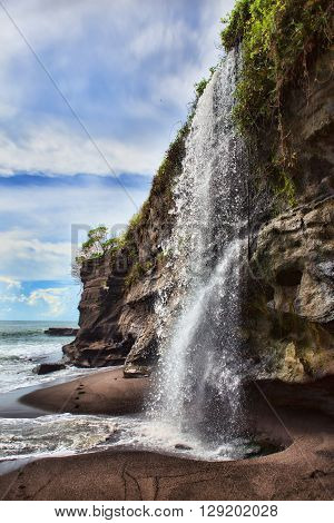 Waterfall At Melasti Beach Tanah Lot Bali, Indonesia