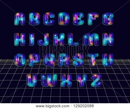 80's retro disco ball style alphabet font. Metallic effect shiny luminous multicoloured disco letters. Vector typography for flyers, headlines, posters etc.