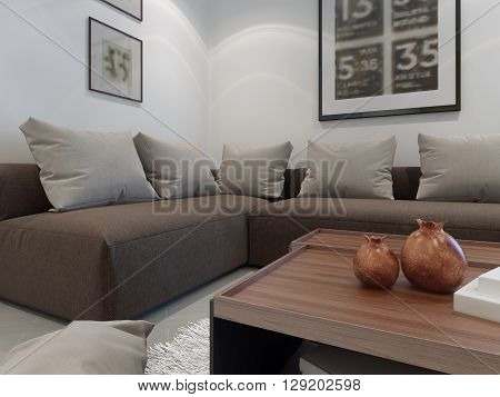 Upholstered furniture in the interior of a private house. Cornes sofa with light grey pillows. White walls with pictures and cozy coffe table. 3D render
