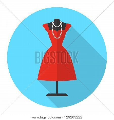 Tailor's mannequin vector flat icon with long shadow. Beautiful red dress on mannequin. Fashion mannequin icon.