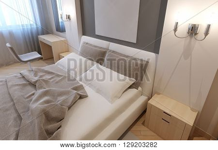 Modern hotel apartment. Undone bed with light grey blanket and pillows bisque colored furniture. 3D render