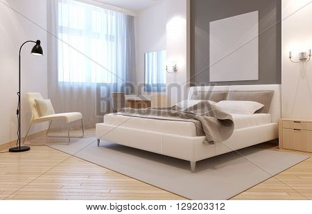 Elegant avangard bedroom interior. Bright room with niche behind bed two sconces above bedside tables and large light grey carpet. 3D render