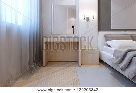 Idea of avant garde bedroom. 3D render