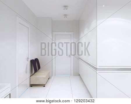 Minimalist corridor in luxury hotel. High ceiling white walls and tile flooring. Spacious interior. 3D render