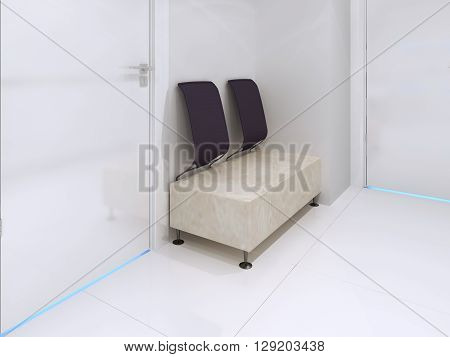 Cream ottoman with backrest near doors. 3D render