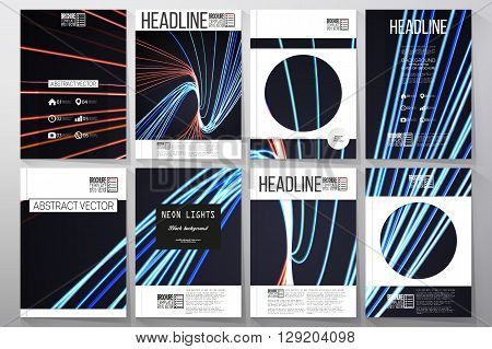 Set of business templates for brochure, flyer or booklet. Abstract lines background, motion design vector illustration.
