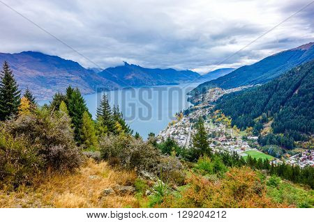 Wakatipu Lake from Queenstown Hill in southern island of New Zealand