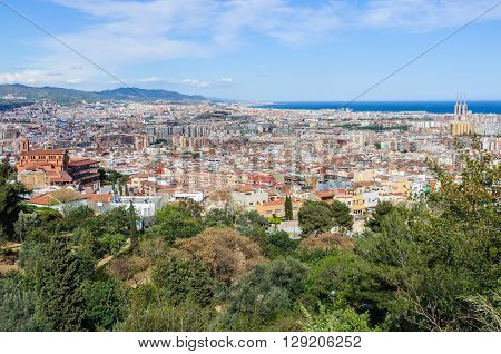 Panoramic View From Guinardo Park In Barcelona, Spain